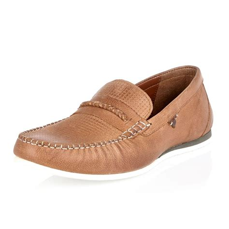 D Island Boots Portland Slip On Leather Brown lyst river island leather woven slip on loafers in