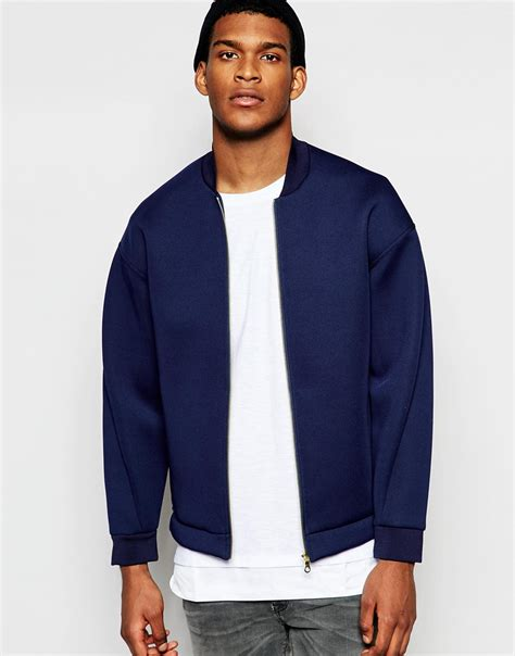 Jacket Bomber Premium Navy lyst asos drop shoulder neoprene bomber jacket in navy in blue for