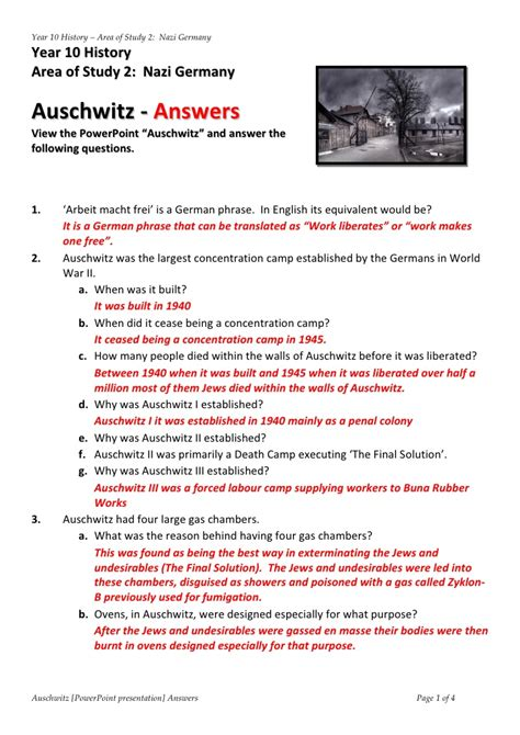 Spreadsheet Questions And Answers by Answers Powerpoint Auschwitz Worksheet