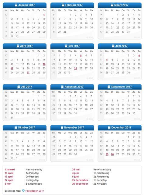 Datum Kalender 2017 Weeknummers 2016 2017 2018 2019 Netperk Outdoor