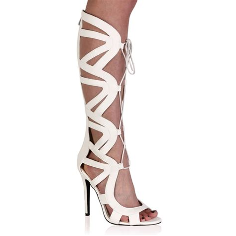 knee high lace up heels nada white knee high lace up heels