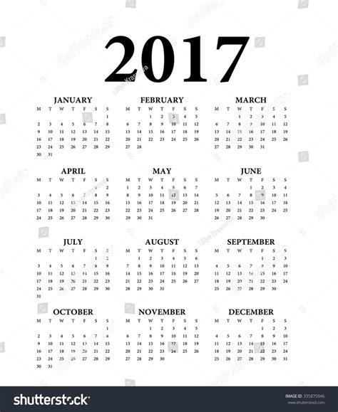 2017 Calendar Starting Monday 2017 Calendar Weeks Start On Monday Stock Vector