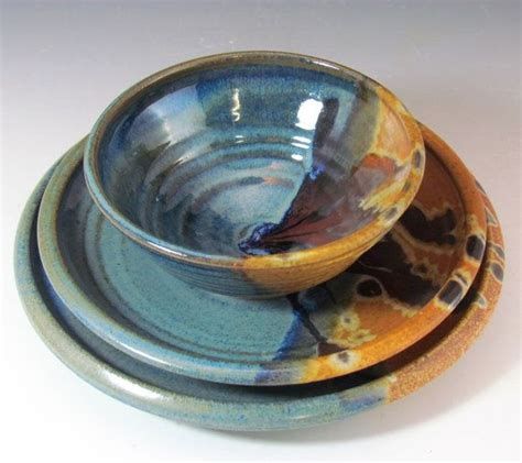 Handmade Dinnerware Pottery - stoneware blue and brown dinnerware set handmade for by