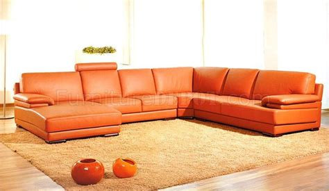 Orange Leather Sectional Sofa Italian Top Grain Leather Modern Sectional Sofa 2227 Orange