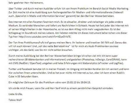 Initiativbewerbung Anschreiben Monteur Berliner Wasserbetriebe Overlayseite Senf Heinemann