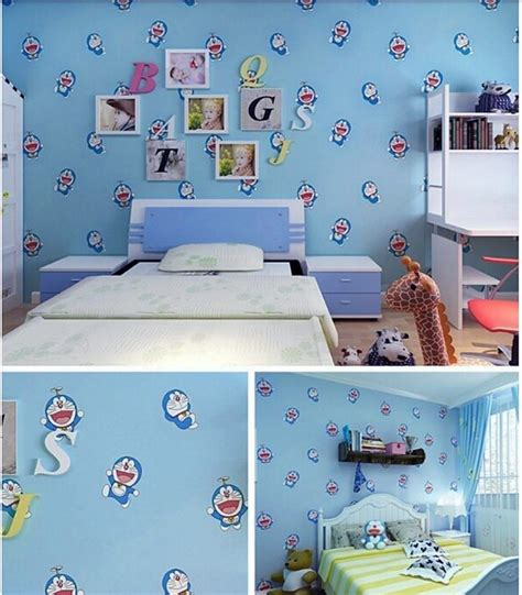 wallpaper doraemon warna biru wallpaper sticker rdws188b doraemon biru rumah stiker