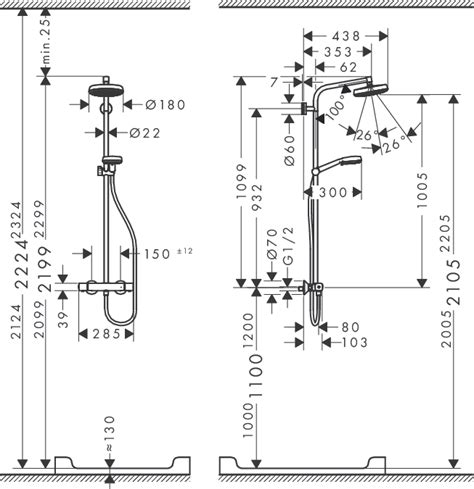 Shower Valve Height From Floor by Hansgrohe 27264400 Crometta 160 Showerpipe Thermostatic