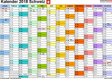 Kalender 2018 Schweiz Querformat In Farbe Kalender 2018 Schweiz Zum Ausdrucken Als Pdf