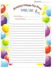 birthday wish list template template design