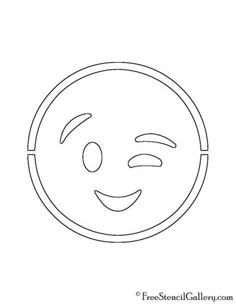 printable pumpkin stencils emoji emoji wink stencil free stencil gallery