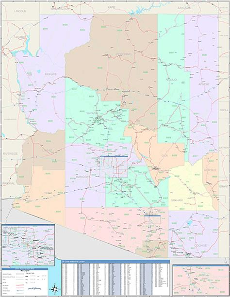 arizona zip code map arizona zip code map