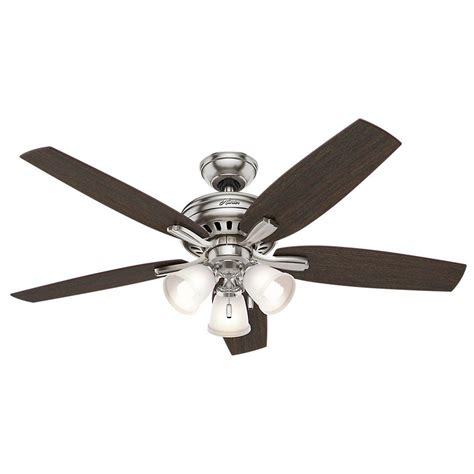 Ceiling Fan Brushed Nickel With Light Newsome 52 In Indoor Brushed Nickel Ceiling Fan With Light Kit 53318 The Home Depot