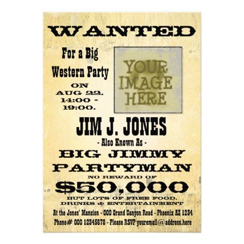 make a western party wanted poster invitation card 5 quot x 7