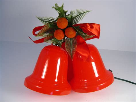 sale retro red plastic lighted christmas bells by pherdsfinds
