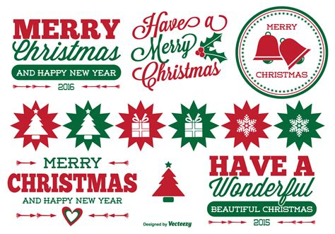 christmas label set   vector art stock graphics images