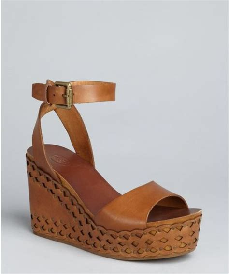 light brown sandals ash light brown leather vanina wedge sandals in brown lyst