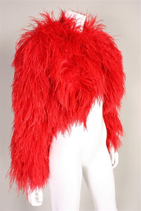Ostrich Lipstick 1980 s lipstick ostrich feather jacket at 1stdibs