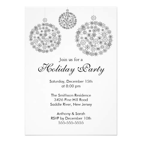 elegant black white holiday christmas party 5x7 paper