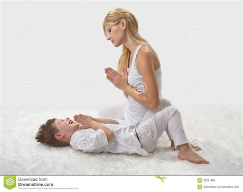 woman boy straight shota mother and son do yoga stock photo image of health