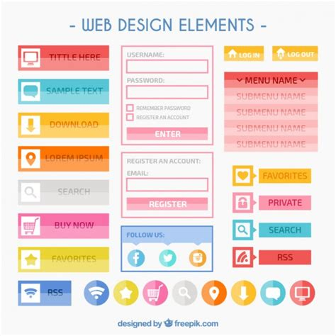 web design layout elements 233 l 233 ments de design colorful web t 233 l 233 charger des vecteurs