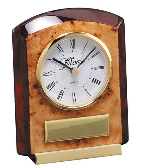 personalized burl piano finish desk clock clocks