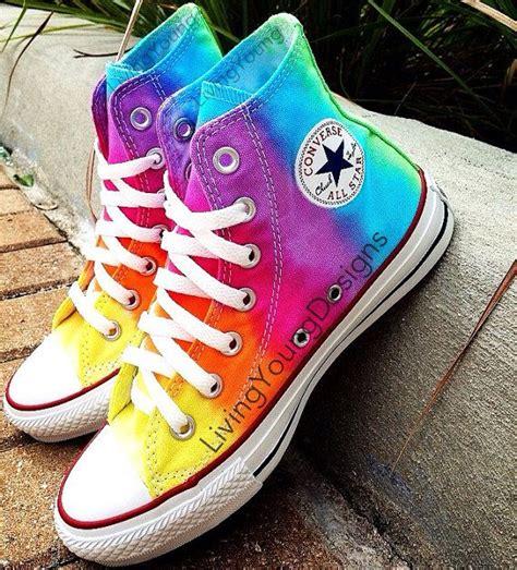 Converse Rainbow tie dye converse rainbow custom tie dye hi top converse