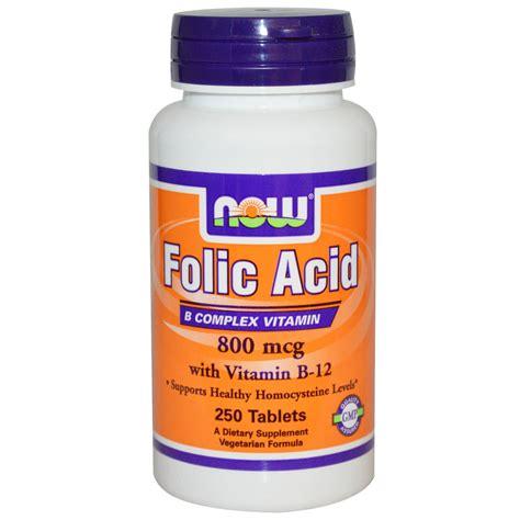 Vitamin Folic Acid Now Foods Folic Acid With Vitamin B 12 800 Mcg 250