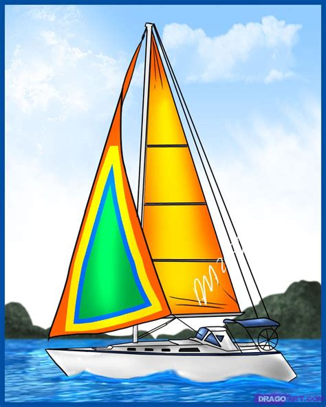 boat cartoon drawing how to draw a sailboat step by step boats