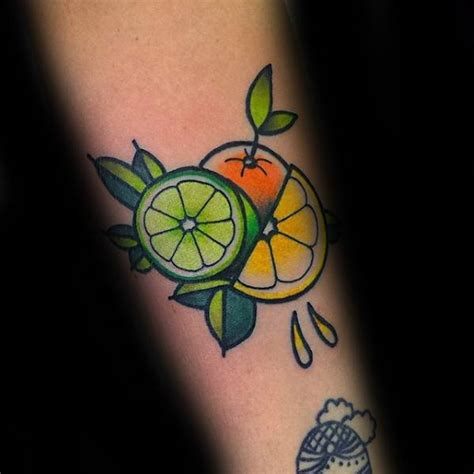 lemon tattoo 50 lemon designs for citrus fruit ink ideas