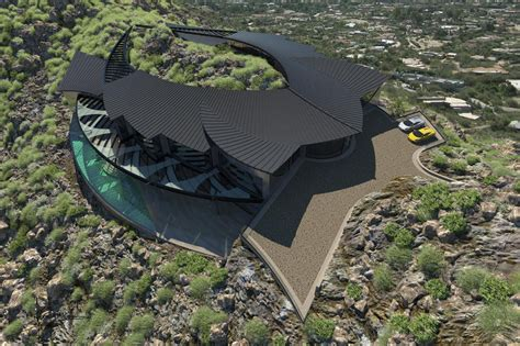 Mountain Enveloping Home Concept Inspired by Manta Ray