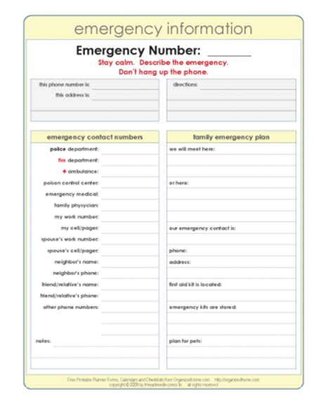 printable emergency plan template