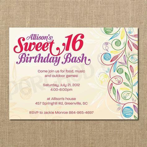 sweet 16 birthday invitation templates free sweet 16 birthday invitations templates free sweet 16