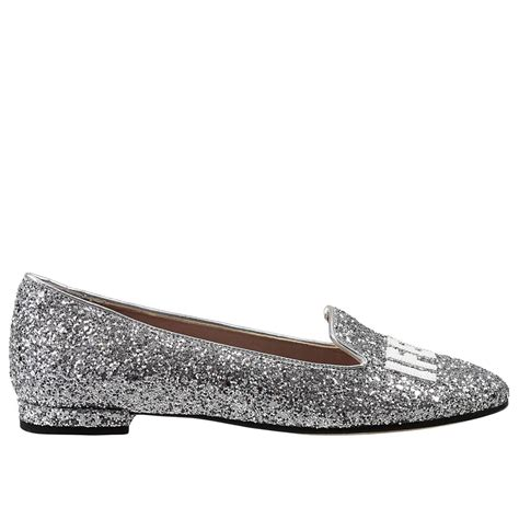 metallic flat shoes lyst chiara ferragni flat shoes in metallic