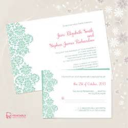 damask border invitation and rsvp set wedding invitation templates printable invitation kits