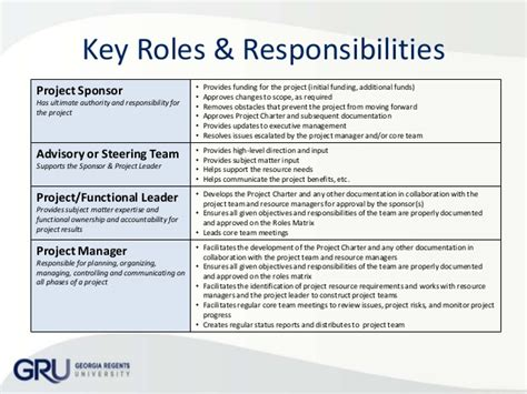 roles and responsibilities template organization chart