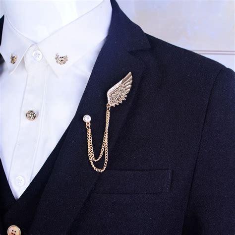 Chain Collar Brooch wings brooch mens suit collar metal wings