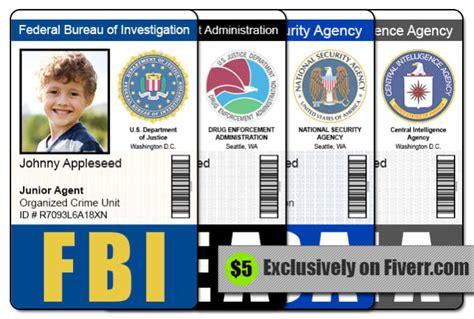 cia id card template maker send 1 fbi cia nsa or dea id badge photoshop template