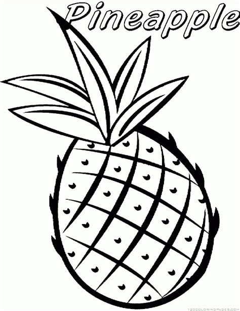 Free Coloring Pages Of Fruit Pineapple Pineapple Coloring Page
