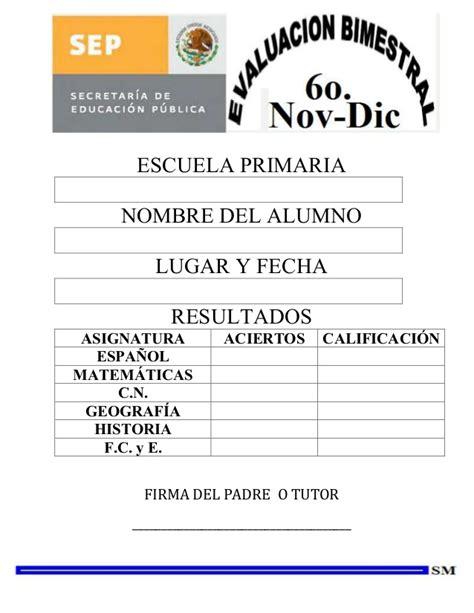 examen bimestral del primer bloque de sexto grado ciclo escolar 2014 examen bimestral sexto grado bim ii 1