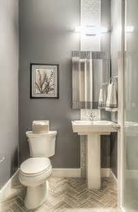 shallow depth pedestal sink modern powder room with majestic mirror contemporary