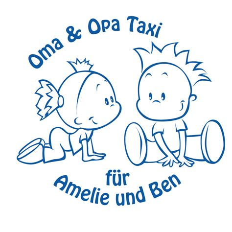Aufkleber Baby Oma Opa baby auto aufkleber oma und opa taxi mit wunschnamen