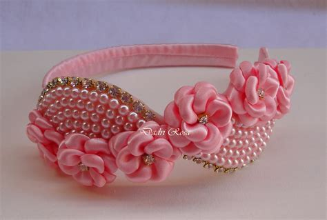 C Tiara tiara florzinhas c perolas luxo rosa dadri rosa tiaras