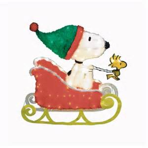 Snoopy Christmas Decorations For Outdoors Pre Lit Peanuts Snoopy On Sleigh Decoration 60387