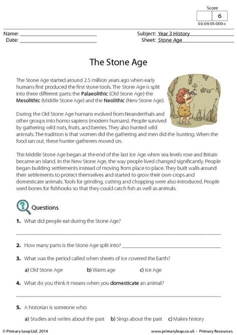 Printable Reading Comprehension Year 3 | reading comprehension the stone age primaryleap co uk
