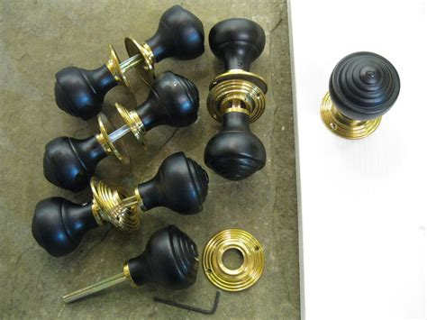 Reproduction Door Hardware by Pair Of Edwardian Reproduction Ebonized Reeded