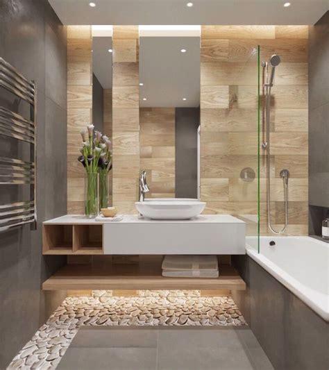 salle de bain moderne grise avec carrelage mural