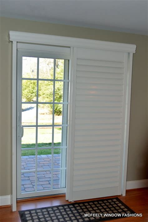 Sliding Plantation Shutters For Patio Doors Plantation Shutters Sliding Glass Door Arundel County Md Baltimore By Mcfeely Window