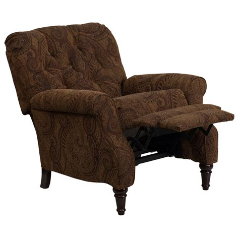 traditional recliners flash furniture traditional tobacco fabric tufted hi leg