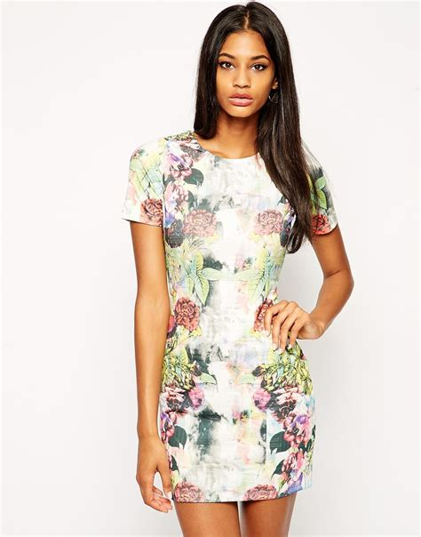 Fathana Flowery Bodycon Mini Dress lyst asos textured bodycon dress in floral mirror print