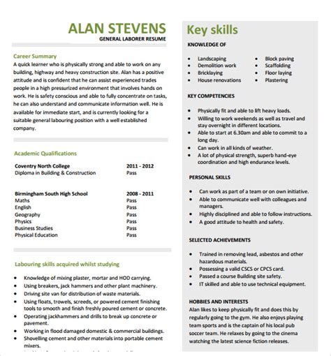 resume template for construction worker sle construction resume template 11 free documents